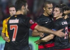 El Atlético y el Málaga, con pie y medio en los octavos de final tras de vencer al Real Jaén (0-3) y al Cacereño (3-4)