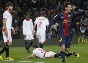 Villa y Messi salvan ante el Sevilla a un Barça que sigue con muchas dudas también en Liga (2-1)