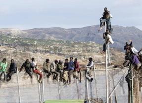 Entre dos mundos: nueve inmigrantes continúan encaramados a la valla de Melilla