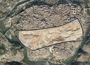 Superficie del nuevo hospital superpuesta sobre el Casco de Toledo