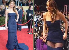 Jennifer Lawrence y el 'fail' con su vestido: se le rompió justo cuando iba a recoger un premio