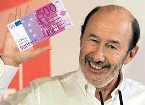 Rubalcaba no quiere billetes de 500 euros: pide prohibirlos y dedicar el dinero aflorado a combatir la pobreza