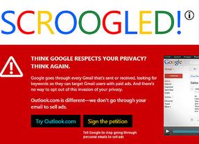 Microsoft inicia una campaña contra Gmail: ataca sus supuesta falta de privacidad