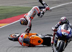 Sanción mínima y simbólica de un punto para Márquez por tirar a Pedrosa en el GP de Aragón