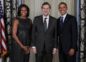 Rajoy 'tuitea' su alegría junto a la pareja Obama