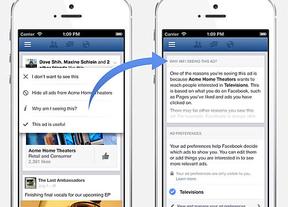 Facebook da mayor control al usuario sobre la publicidad que ve