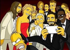 Los Simpson se cuelan en el 'selfie' de los Oscar