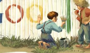 Tom Sawyer pinta el 'doodle' del día en homenaje a Mark Twain