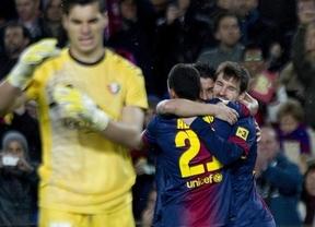 Messi 'responde' al triplete de Ronaldo con cuatro goles a un Osasuna en inferioridad (5-1)