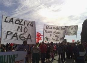 Los trabajadores de Cerámicas La Oliva se manifiestan para exigir el pago de sus salarios y la retirada de los ERE