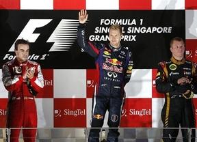 Alonso, segundo en Singapur, sigue dando la cara ante un Vettel intratable y de nuevo vencedor
