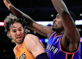 Nunca es tarde... si la victoria es buena: Gasol y sus Lakers vuelven a ganar a costa de los Thunder de Ibaka (114-110)
