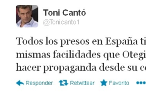 Toni Cantó vuelve liarla en Twitter al hablar de Otegi