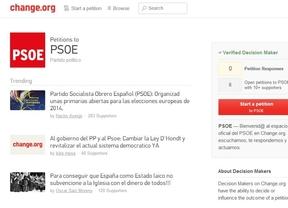 El PSOE estrena perfil en Change.org y ya recibe 'peticiones': primarias abiertas para las europeas de 2014