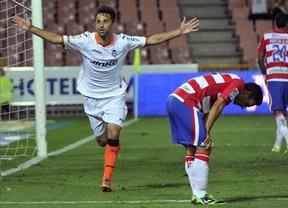 Jonás celebra su gol en Granada