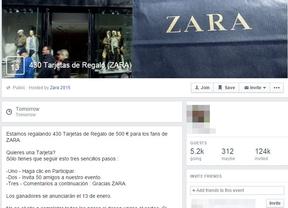 Inditex asegura que la promoción de tarjetas regalo de Zara en Facebook es una estafa