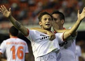 El triplete español cumple en la Liga Europa: victorias locales de Valencia (5-1) y Betis (1-0) y empate a domicilio del Sevilla (1-1)