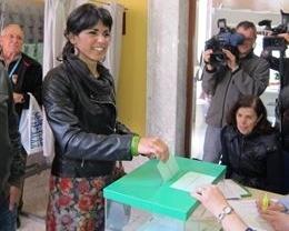 Teresa Rodríguez vota en Cádiz con la sensación de que 'algo va a cambiar'