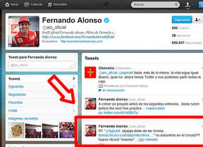 Fernando Alonso 'retuitea' a 'Diariocrítico de Valencia'