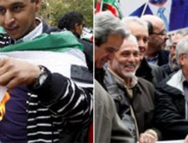 Manifestantes prosaharauis entran en 'acción' y queman banderas de Marruecos en Madrid