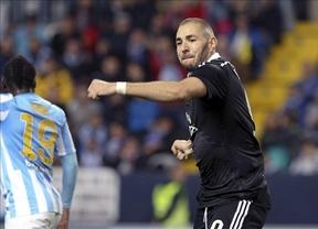 El Málaga no frena a un Madrid que suma ya 16 victorias seguidas, batiendo su récord histórico (1-2)