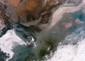 La mancha de la polución china, vista desde el espacio