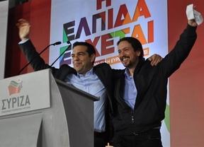 Pablo Iglesias, en el gran mitin de Syriza en Atenas: