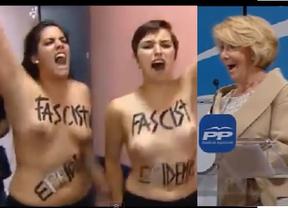 Boicot del colectivo Femen a Aguirre: dos chicas a pecho descubierto irrumpen su mitin