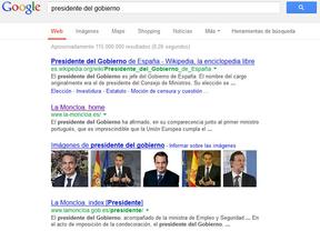 Para Google, Zapatero sigue siendo la 'imagen' del presidente del Gobierno