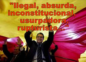 Ilegal, absurda, inconstitucional, al margen de la ley, usurpadora, rupturista...: duras palabras para recibir a la declaración soberanista de Cataluña