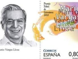 España lanza sello postal de Mario Vargas Llosa