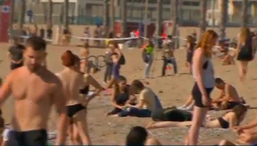 Playa de Barcelona en fase 0,5 de la desescalada