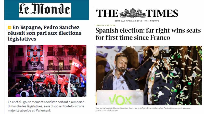 La prensa internacional felicita a Sánchez pero se horroriza con la irrupción de la ultraderecha 'franquista'