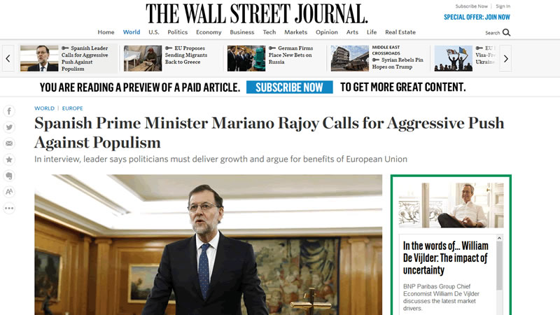 Rajoy defiende a Trump en una entrevista en 'The Wall Street Journal': 'Tiene que ser juzgado por lo que haga'