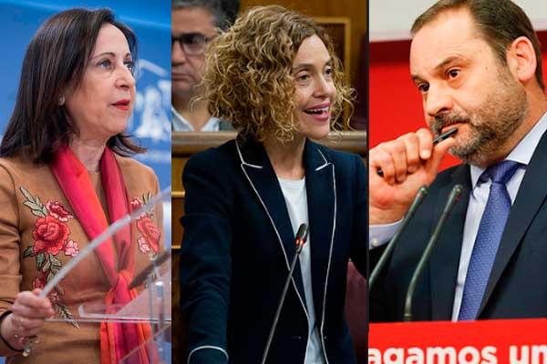 Margarita Robles, José Luis Ábalos y Meritxell Batet