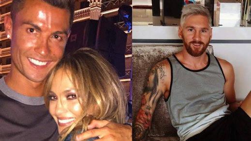 Cristiano Ronaldo, en el cumpleaños de Jennifer Lopez; Messi, de rubio platino