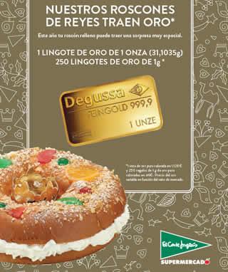 El Corte Inglés regala lingotes de oro en sus roscones de Reyes