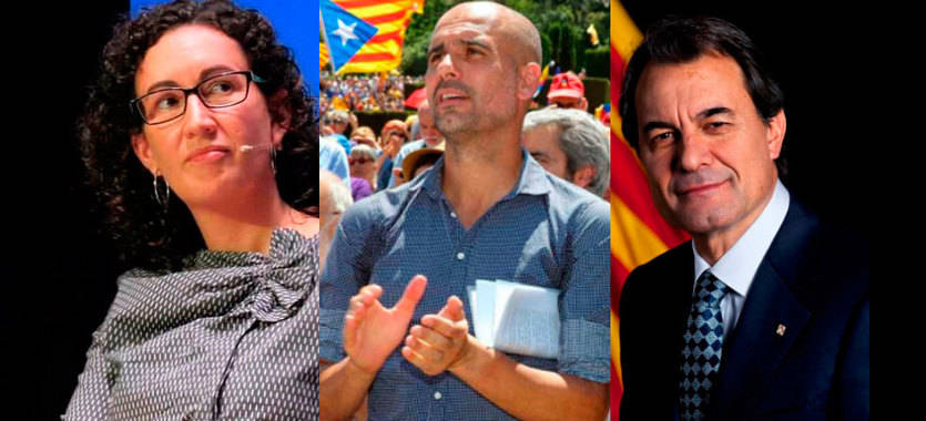 Marta Rovira, Pep Guardiola y Artur Mas