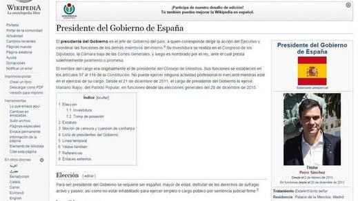 Pedro Sánchez fue presidente del Gobierno por unos minutos... en la 'Wikipedia'
