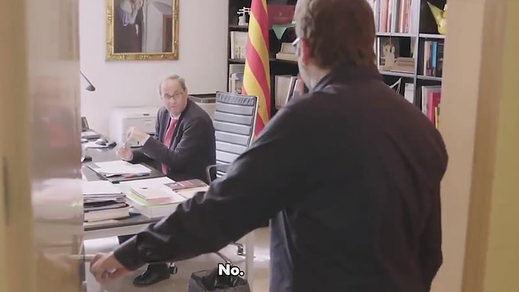 Torra se deja grabar por TV3 mientras llama a Pedro Sánchez por teléfono y es rechazado: