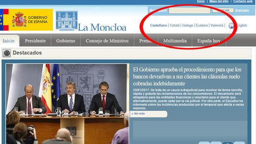 El Gobierno pide el español en la Casa Blanca mientras falla a catalanes y vascos en la web de La Moncloa