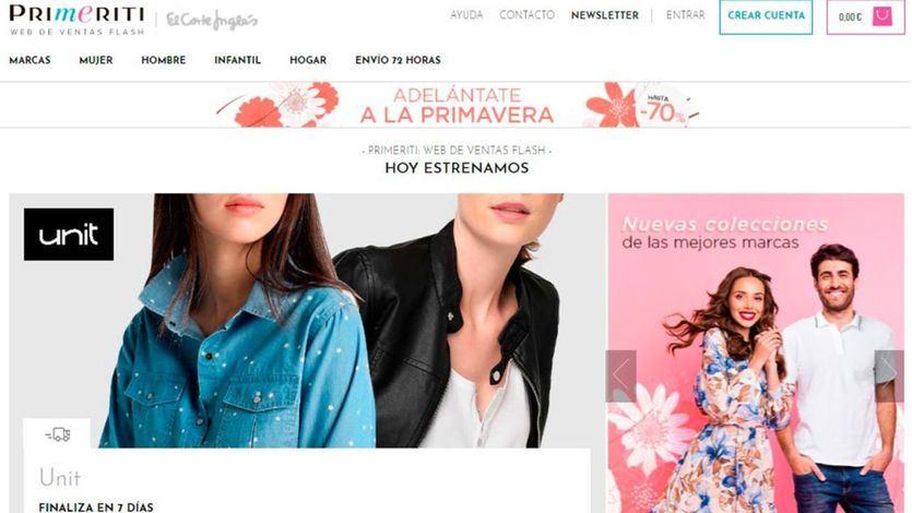 Primeriti la web de ventas flash de El Corte Inglés