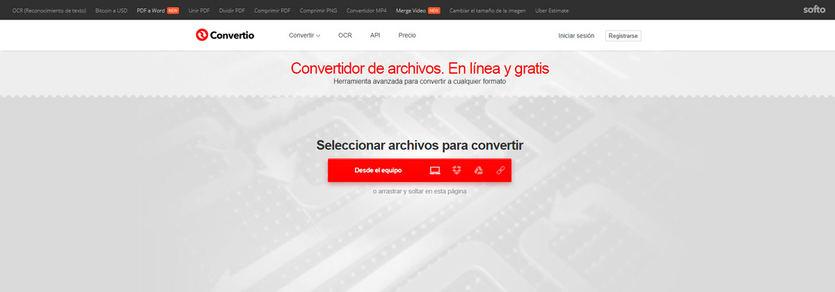 Convertio, servicio online gratuito de conversión entre formatos
