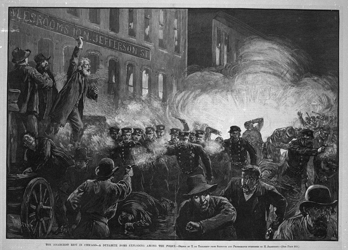 Ilustración del día que estalló la bomba en Chicago, que condenó a la horca a los Mártires de Chicago.